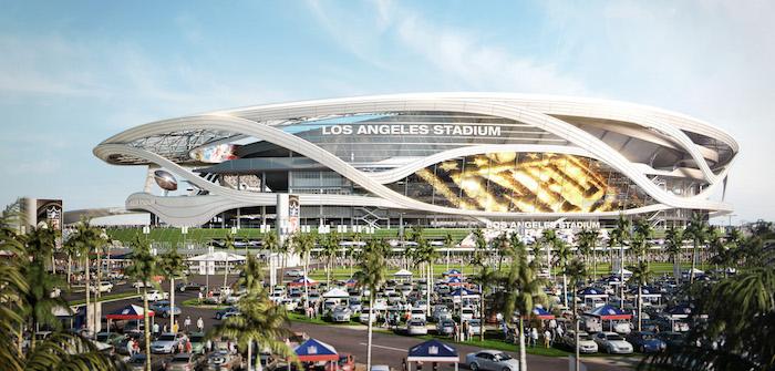 The design for the new LA stadium. Image: Steelblue + MANICA