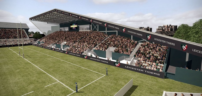 Leicester Tigers new West Stand under construction