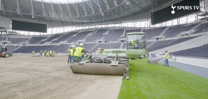 Tottenham Hotspur lays new pitch CREDIT Spurs TV